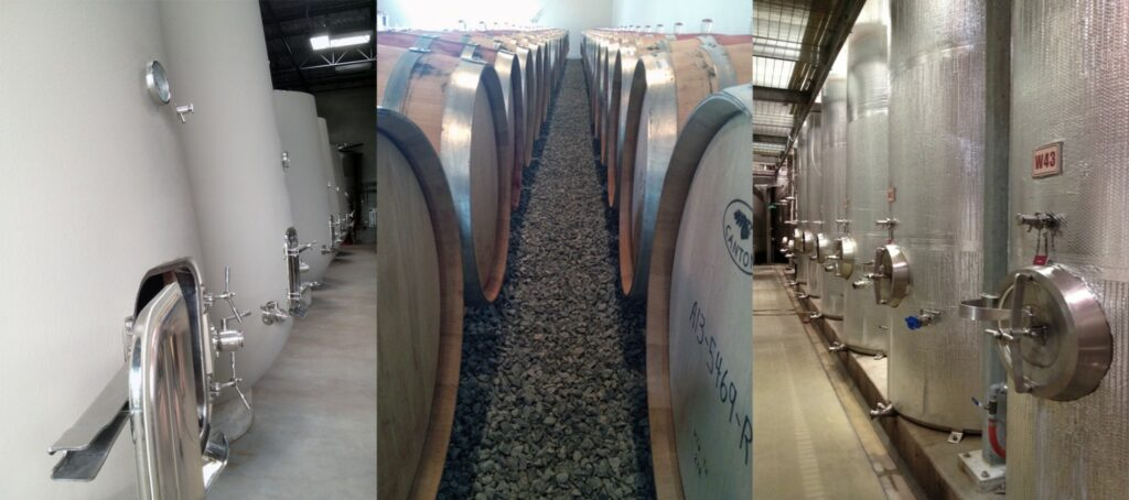 Common vessels for fermenting wine: Amphoras, barrels, and stainless steel tanks.